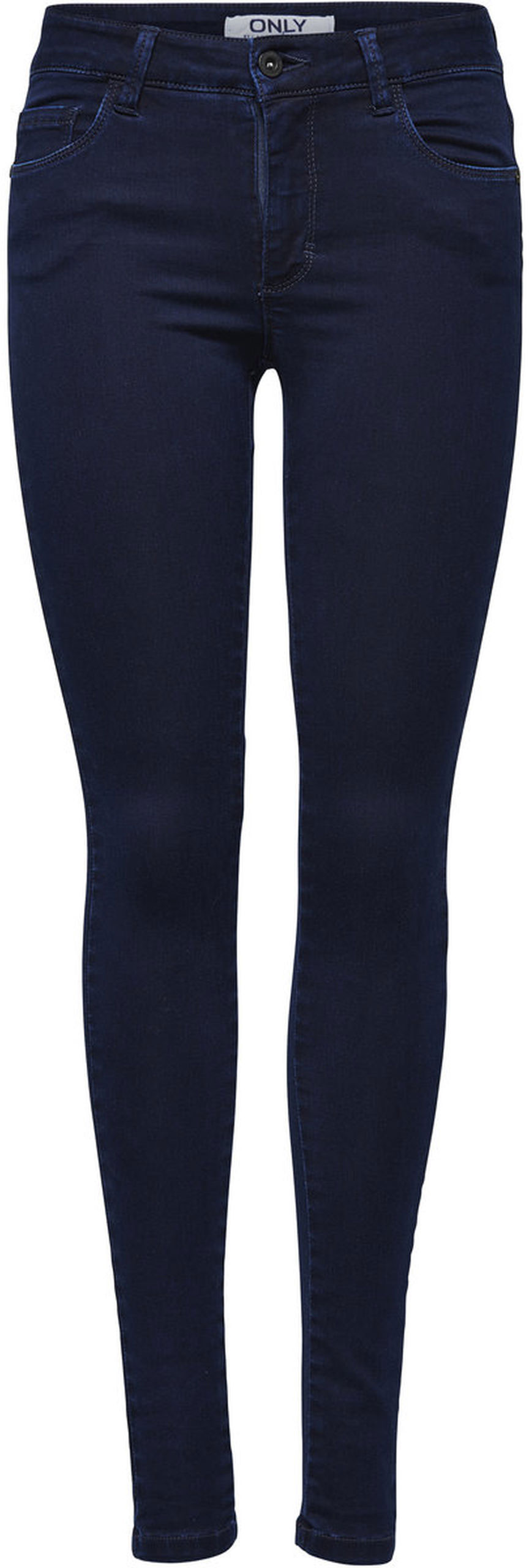 Джинсы женские Only, цвет: темно-синий. 15092651_Dark Blue Denim. Размер XL-32 (50/52-32)15092651_Dark Blue DenimСтильные женские джинсы Only выполнены из хлопка с добавлением полиэстера и эластана. Материал мягкий и приятный на ощупь, не сковывает движения и дарит комфорт. Джинсы-скинни с заниженной посадкой застегиваются на пуговицу в поясе и ширинку на застежке-молнии. На поясе предусмотрены шлевки для ремня. Спереди модель дополнена двумя втачными карманами и одним накладным кармашком, сзади - двумя накладными карманами. Модель оформлена контрастной прострочкой.