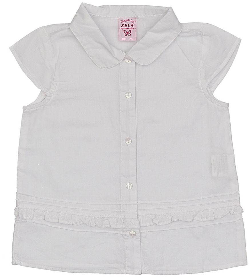 Блузка для девочки Sela, цвет: белый. Bs-512/273-7284. Размер 116, 6 летBs-512/273-7284Стильная блузка для девочки Sela выполнена из натурального хлопка и оформлена рюшей. Модель прямого кроя с отложным воротничком и рукавами-крылышками застегивается на пуговицы. Блузка подойдет для прогулок и дружеских встреч и будет отлично сочетаться с джинсами и брюками, и гармонично смотреться с юбками. Мягкая ткань комфортна и приятна на ощупь.