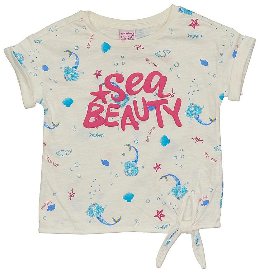Футболка для девочки Sela, цвет: молочный. Ts-511/330-7233. Размер 110, 5 летTs-511/330-7233Стильная футболка для девочки Sela выполнена из натурального хлопка и оформлена принтом в морском стиле. Модель прямого кроя с короткими рукавами со спущенным плечом подойдет для прогулок и дружеских встреч, будет отлично сочетаться с джинсами и брюками, а также гармонично смотреться с юбками. Круглый вырез горловины дополнен мягкой трикотажной резинкой. Мягкая ткань комфортна и приятна на ощупь.