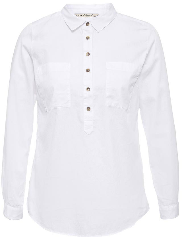 Рубашка женская Sela, цвет: белый. B-112/526-7263. Размер 44B-112/526-7263Стильная женская рубашка Sela выполнена из натурального хлопка. Модель прямого кроя с удлиненной спинкой и отложным воротничком застегивается на пуговицы до середины груди и дополнена двумя накладными карманами. Манжеты длинных рукавов также дополнены пуговицами. Рубашка подойдет для офиса, прогулок и дружеских встреч и будет отлично сочетаться с джинсами и брюками, и гармонично смотреться с юбками. Мягкая ткань комфортна и приятна на ощупь.