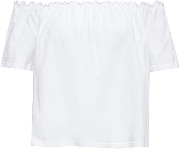 Топ женский Sela, цвет: белый. Ts-311/1134-7214. Размер L (48)Ts-311/1134-7214Оригинальный женский топ Sela выполнен из натурального хлопка. Укороченная модель прямого кроя подойдет для прогулок и дружеских встреч, будет отлично сочетаться с джинсами и брюками, а также гармонично смотреться с юбками. Верх изделия дополнен резинкой, которая позволяет носить топ, как на плече, так и спустив его ниже. Мягкая ткань комфортна и приятна на ощупь.