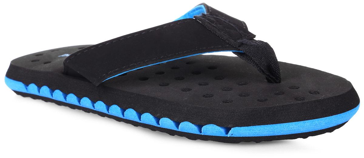 Шлепанцы для мальчика PlayToday, цвет: черный, голубой. 171232. Размер 31171232Легкие шлепанцы выполнены из мягкого водонепроницаемого материала. Внутренняя часть подошвы перфорированная, что обеспечивает дополнительную вентиляцию стопы. Прекрасно подойдут для похода в бассейн или для поездки на пляж.