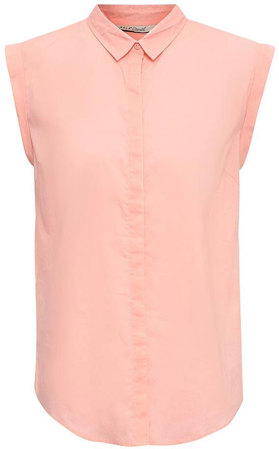 Блузка женская Sela, цвет: пепельно-персиковый. Bs-112/1262-7263. Размер 44Bs-112/1262-7263Оригинальная женская блузка Sela выполнена из натурального хлопка. Модель прямого кроя с отложным воротничком и короткими цельнокроеными рукавами застегивается на пуговицы, скрытые планкой. Блузка подойдет для офиса, прогулок и дружеских встреч и будет отлично сочетаться с джинсами и брюками, и гармонично смотреться с юбками. Мягкая ткань комфортна и приятна на ощупь.