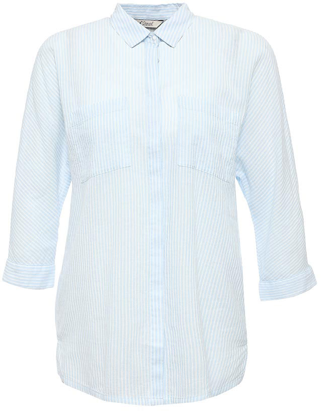 Рубашка женская Sela, цвет: светло-голубой. B-112/1265-7263. Размер 46B-112/1265-7263Стильная женская рубашка Sela выполнена из натурального хлопка и оформлена принтом в полоску. Модель прямого кроя с удлиненной спинкой и отложным воротничком застегивается на пуговицы, скрытые планкой, и дополнена двумя накладными карманами. Манжеты рукавов длиной 3/4 также дополнены пуговицами. Рубашка подойдет для офиса, прогулок и дружеских встреч и будет отлично сочетаться с джинсами и брюками, и гармонично смотреться с юбками. Мягкая ткань комфортна и приятна на ощупь.