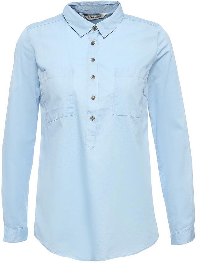 Рубашка женская Sela, цвет: светло-голубой. B-112/526-7263. Размер 46B-112/526-7263Стильная женская рубашка Sela выполнена из натурального хлопка. Модель прямого кроя с удлиненной спинкой и отложным воротничком застегивается на пуговицы до середины груди и дополнена двумя накладными карманами. Манжеты длинных рукавов также дополнены пуговицами. Рубашка подойдет для офиса, прогулок и дружеских встреч и будет отлично сочетаться с джинсами и брюками, и гармонично смотреться с юбками. Мягкая ткань комфортна и приятна на ощупь.
