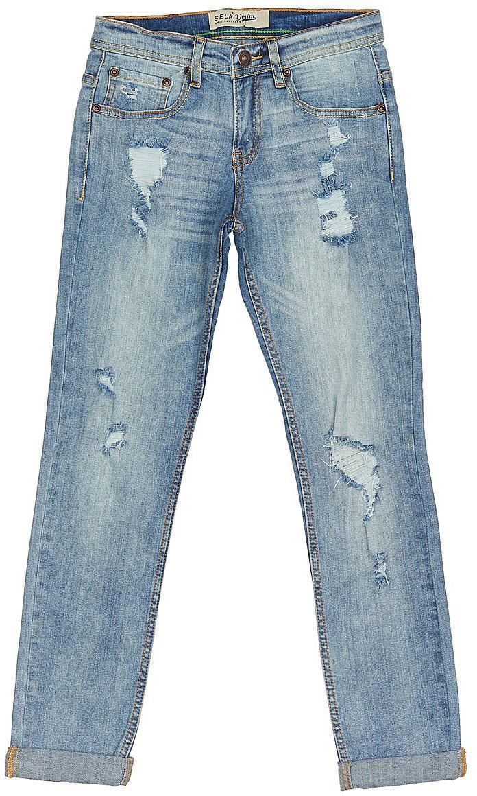 Джинсы для мальчика Sela Denim, цвет: голубой джинс. PJ-835/345-7243. Размер 140, 10 летPJ-835/345-7243Стильные джинсы с подворотами для мальчика Sela выполнены из качественного эластичного материала с эффектом потертостей и разрывами. Джинсы зауженного кроя и стандартной посадки на талии застегиваются на пуговицу и имеют ширинку на застежке-молнии. На поясе имеются шлевки для ремня. Модель представляет собой классическую пятикарманку: два втачных и накладной кармашек спереди и два накладных кармана сзади.