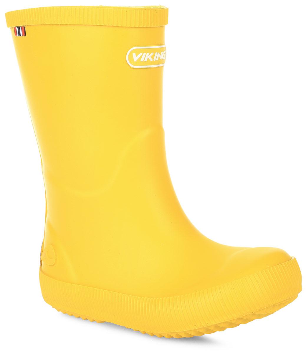 Сапоги резиновые для девочки Viking Classic Indie, цвет: желтый. 1-13200-00013. Размер 241-13200-00013Модные резиновые сапоги от Viking - идеальная обувь в дождливую погоду для вашей девочки. Модель лаконичного дизайна оформлена эмблемой с названием бренда. Внутренняя поверхность и стелька, выполненные из синтетического материала со скрученными волокнами, способствующими поддержанию тепла, комфортны при ходьбе. Подошва с протектором гарантирует отличное сцепление с любой поверхностью. Резиновые сапоги - необходимая вещь в гардеробе каждого ребенка.
