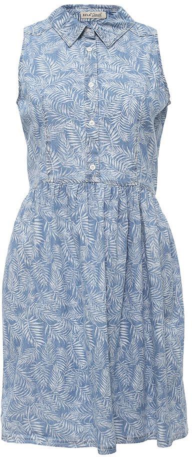 Платье Sela, цвет: голубой джинс. Djsl-137/013-7213. Размер 48Djsl-137/013-7213Стильное джинсовое платье без рукавов Sela выполнено из натурального хлопка и оформлено растительным принтом. Модель приталенного кроя с расклешенной юбкой и отложным воротничком застегивается на пуговицы. Мягкая ткань комфортна и приятна на ощупь. Платье подойдет для прогулок и дружеских встреч и станет отличным дополнением гардероба.