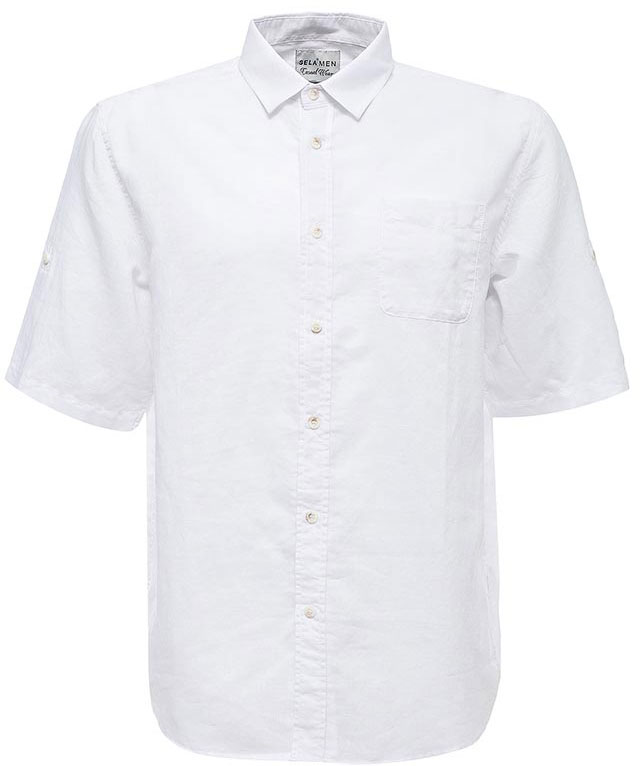 Рубашка мужская Sela, цвет: белый. Hs-212/753-7224. Размер 42 (48)Hs-212/753-7224Стильная мужская рубашка Sela выполнена из хлопка с добавлением льна. Модель прямого кроя с рукавами до локтя и отложным воротничком застегивается на пуговицы и дополнена накладным карманом на груди. Рукава можно подвернуть и зафиксировать при помощи хлястиков на пуговицах.Универсальный цвет позволяет сочетать модель с любой одеждой.
