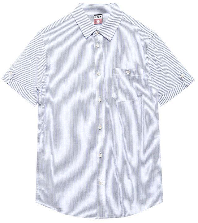 Рубашка для мальчика Sela, цвет: белый. Hs-812/200-7213. Размер 146, 11 летHs-812/200-7213Стильная рубашка для мальчика Sela выполнена из натурального хлопка и оформлена принтом в тонкую полоску. Модель прямого кроя с короткими рукавами и отложным воротничком застегивается на пуговицы и дополнена накладным карманом на пуговице на груди. Манжеты рукавов дополнены декоративными хлястиками на пуговицах.Универсальный цвет позволяет сочетать модель с любой одеждой.