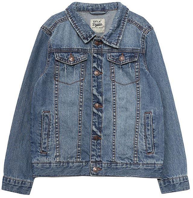 Куртка джинсовая для мальчика Sela, цвет: синий джинс. JTj-736/003-7213. Размер 110, 5 летJTj-736/003-7213Классическая джинсовая куртка Sela, выполненная из натурального хлопка, станет отличным дополнением гардероба в теплое время года. Модель прямого кроя с отложным воротничком застегивается на пуговицы и дополнена двумя прорезными карманами по бокам и двумя прорезными карманами с клапанами на пуговицах на груди. Манжеты длинных рукавов также дополнены пуговицами. Куртка подойдет для прогулок и дружеских встреч и будет отлично сочетаться с джинсами и брюками.