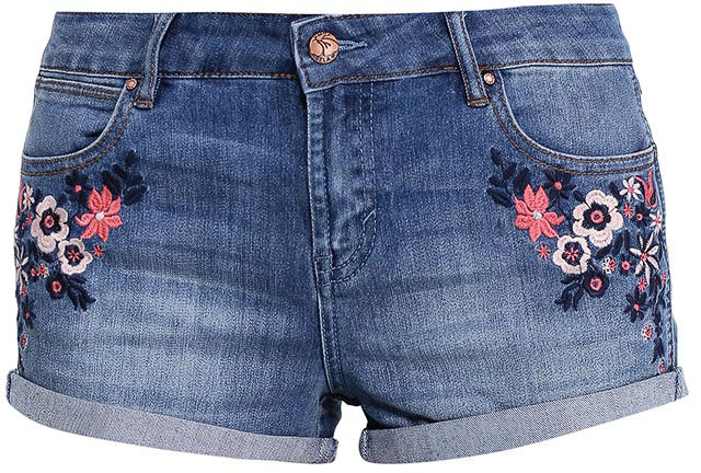 Шорты женские Sela Denim, цвет: синий джинс. SHJ-335/794-7213. Размер 27 (42/44)SHJ-335/794-7213Женские джинсовые шорты Sela, изготовленные из качественного хлопкового материала с эффектом потертостей, станут отличным дополнением гардероба в летний период. Короткие шорты прилегающего кроя и стандартной посадки на талии застегиваются на застежку-молнию и пуговицу и оформлены цветочной вышивкой. На поясе имеются шлевки для ремня. Модель дополнена двумя втачными и накладным карманами спереди и двумя накладными карманами сзади.