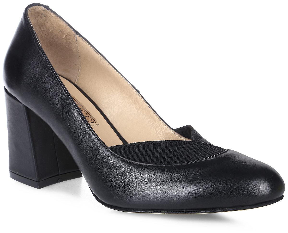 Туфли женские Benucci, цвет: черный. 6057. Размер 366057Женские туфли на каблуке от Benucci прекрасно подчеркнут ваш стиль. Модель выполнена из натуральной кожи. На мысе изделие дополнено текстильными вставками. Подкладка и стелька из натуральной кожи гарантируют комфорт и удобство при ходьбе. Высокий каблук устойчив. Подошва с рифлением обеспечивает идеальное сцепление с любой поверхностью. Изысканные туфли добавят шика в модный образ и подчеркнут ваш безупречный вкус.