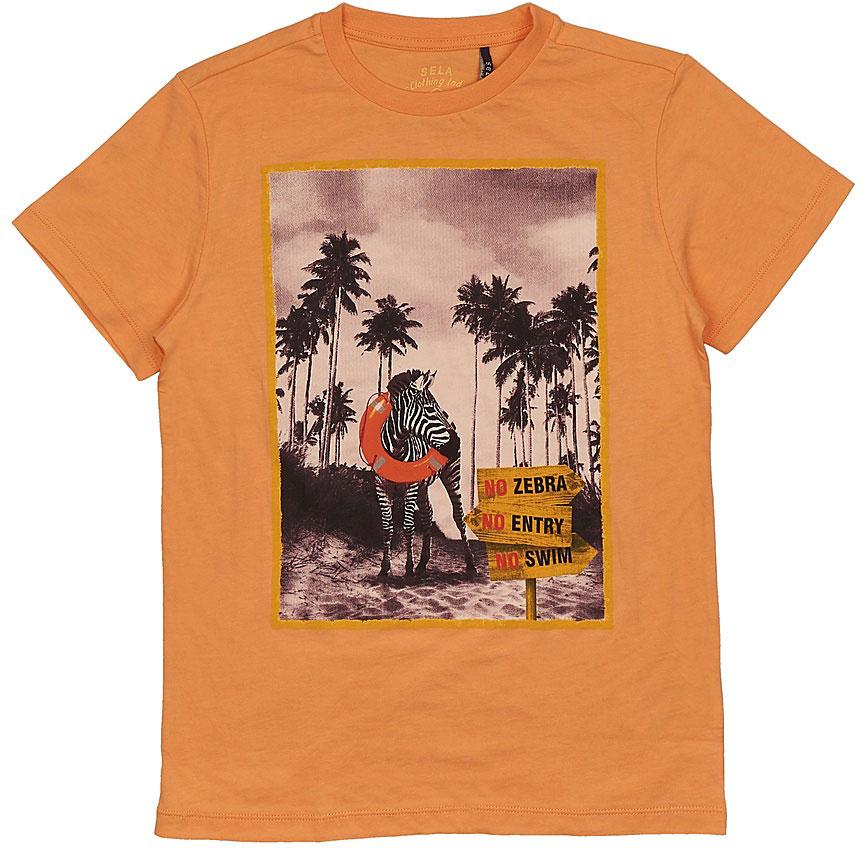 Футболка для мальчика Sela, цвет: желто-оранжевый. Ts-811/581-7214. Размер 140, 10 летTs-811/581-7214Стильная футболка для мальчика Sela изготовлена из натурального хлопка и оформлена оригинальным принтом. Воротник дополнен мягкой трикотажной резинкой.Яркий цвет модели позволяет создавать модные образы.