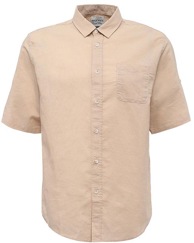 Рубашка мужская Sela, цвет: бежевый. Hs-212/753-7224. Размер 43 (50)Hs-212/753-7224Стильная мужская рубашка Sela выполнена из хлопка с добавлением льна. Модель прямого кроя с рукавами до локтя и отложным воротничком застегивается на пуговицы и дополнена накладным карманом на груди. Рукава можно подвернуть и зафиксировать при помощи хлястиков на пуговицах.Универсальный цвет позволяет сочетать модель с любой одеждой.