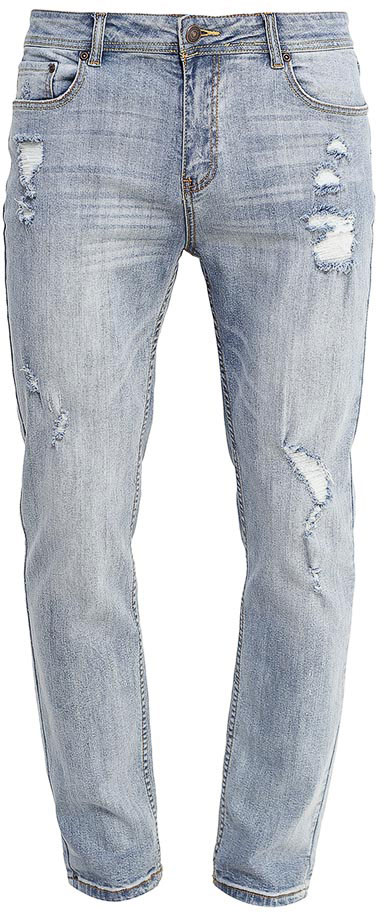 Джинсы мужские Sela, цвет: голубой джинс. PJ-235/1089-7253. Размер 32-32 (48-32)PJ-235/1089-7253Стильные мужские джинсы Sela, изготовленные из качественного эластичного хлопка с потертостями и разрывами, станут отличным дополнением гардероба. Джинсы зауженного кроя и стандартной посадки на талии застегиваются на застежку-молнию и пуговицу. На поясе имеются шлевки для ремня. Модель представляет собой классическую пятикарманку: два втачных и накладной карманы спереди и два накладных кармана сзади.