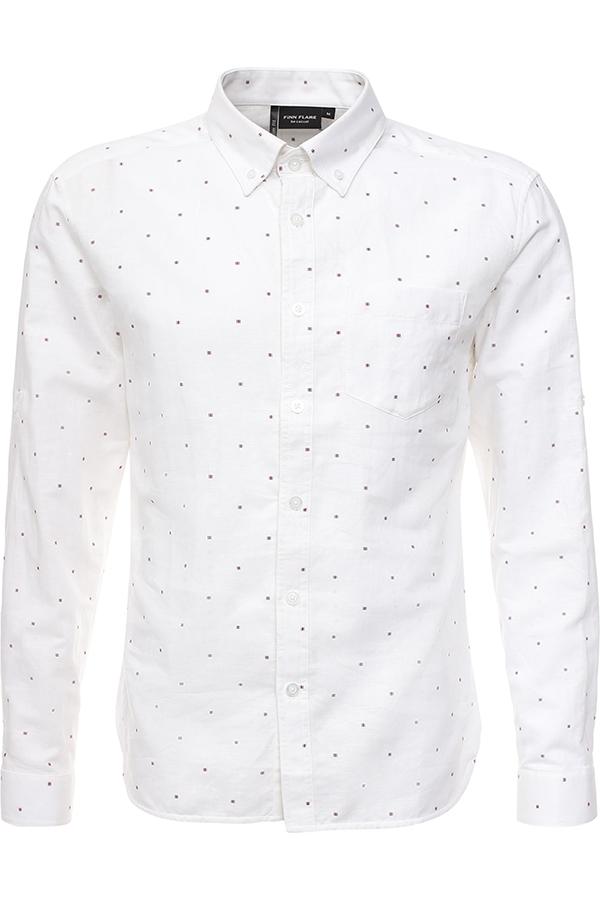Рубашка мужская Finn Flare, цвет: белый. S17-21026_201. Размер L (50)S17-21026_201Рубашка мужская Finn Flare выполнена из льна и хлопка. Модель с отложным воротником и длинными рукавами застегивается на пуговицы.