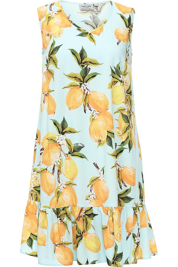 Платье Finn Flare, цвет: светло-голубой. S17-14090_106. Размер XL (50)S17-14090_106Платье Finn Flare выполнено из 100% вискозы. Модель с V-образным вырезом горловины оформлено оригинальным принтом.