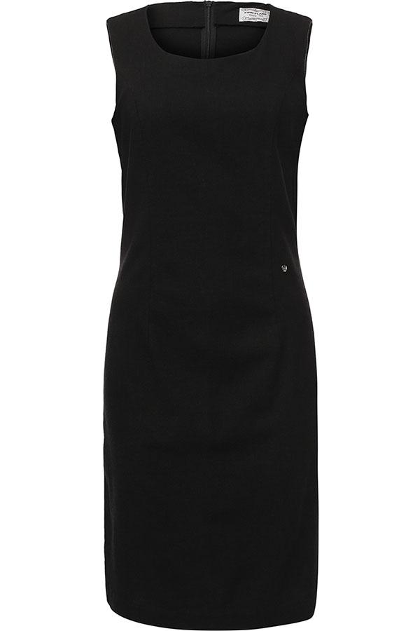 Платье Finn Flare, цвет: черный. S17-12043_200. Размер L (48)S17-12043_200Платье Finn Flare выполнено из льна, вискозы и эластана. Модель с круглым вырезом горловины сзади застегивается на застежку-молнию.
