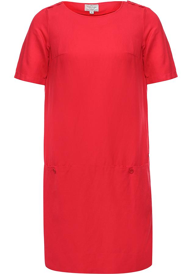 Платье Finn Flare, цвет: малиновый. S17-11040_317. Размер M (46)S17-11040_317Платье Finn Flare выполнена из льна и вискозы. Модель с круглым вырезом горловины и короткими рукавами.