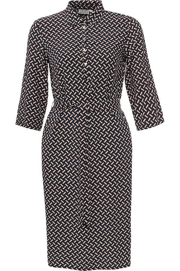 Платье Finn Flare, цвет: темно-синий. S17-11043_101. Размер L (48)S17-11043_101Платье Finn Flare выполнено из 100% вискозы. Модель с отложным воротником и рукавами 3/4 застегивается на пуговицы.