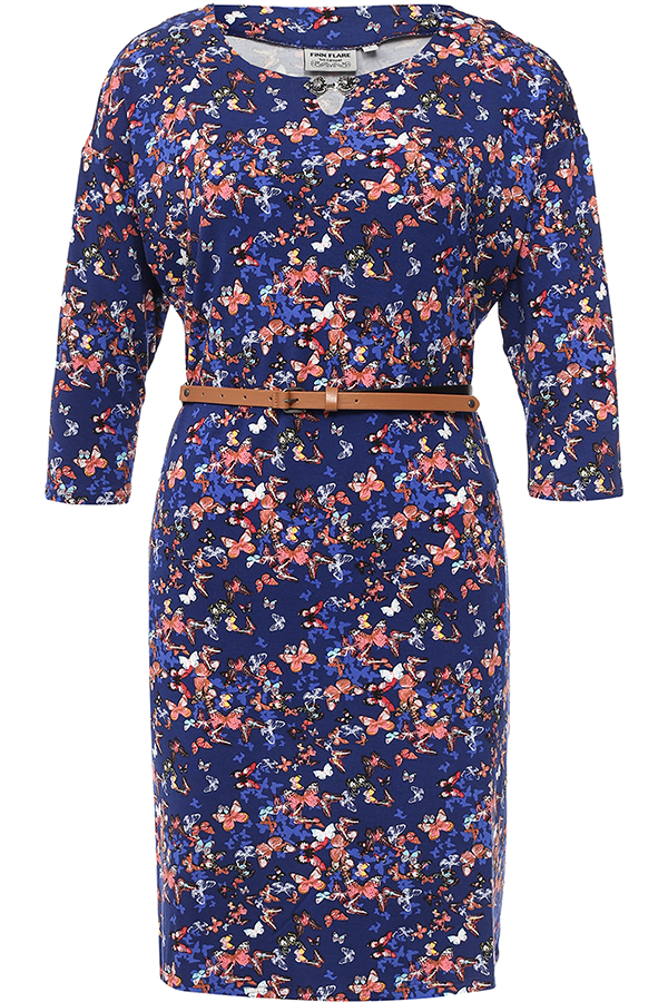 Платье Finn Flare, цвет: темно-синий. B17-12071_101. Размер M (46)B17-12071_101Платье Finn Flare выполнено из вискозы и эластана. Модель с круглым вырезом горловины и рукавами 3/4.