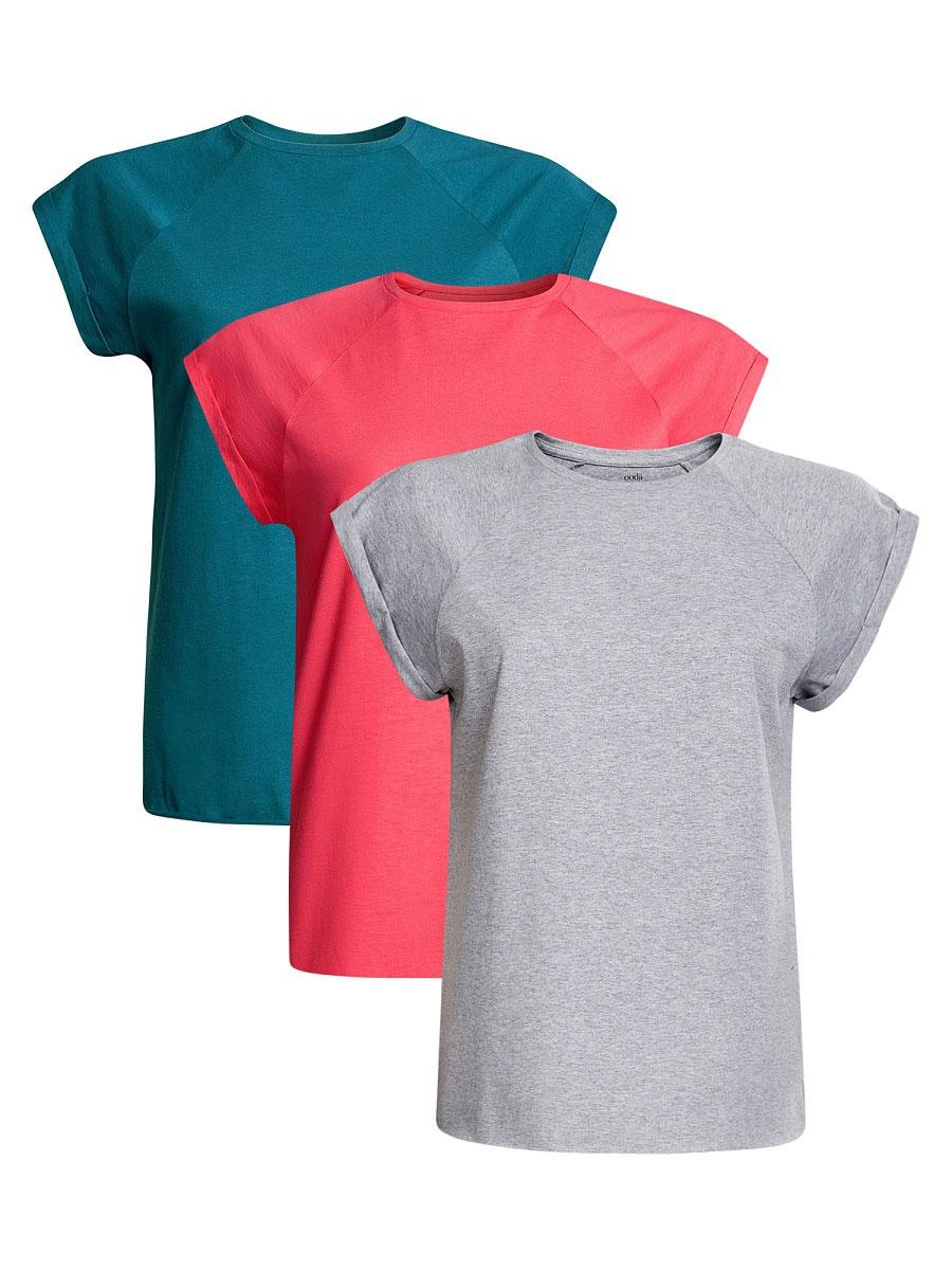 Футболка женская oodji Ultra, цвет: бирюзовый, розовый, серый, 3 шт. 14707001T3/46154/4620N. Размер S (44)14707001T3/46154/4620NБазовая футболка с короткими рукавами и круглым вырезом горловины выполнена из натурального хлопка. В комплект входит три футболки.