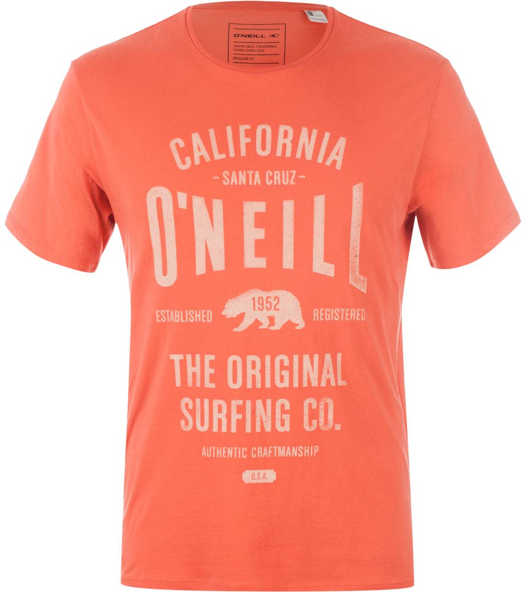 Футболка мужская ONeill Lm Muir T-Shirt, цвет: оранжевый. 7A3657-3066. Размер S (46/48)7A3657-3066Футболка мужская ONeill выполнена из 100% хлопка. Модель имеет стандартный крой, короткий рукав и круглый вырез горловины. Футболка дополнена надписями.