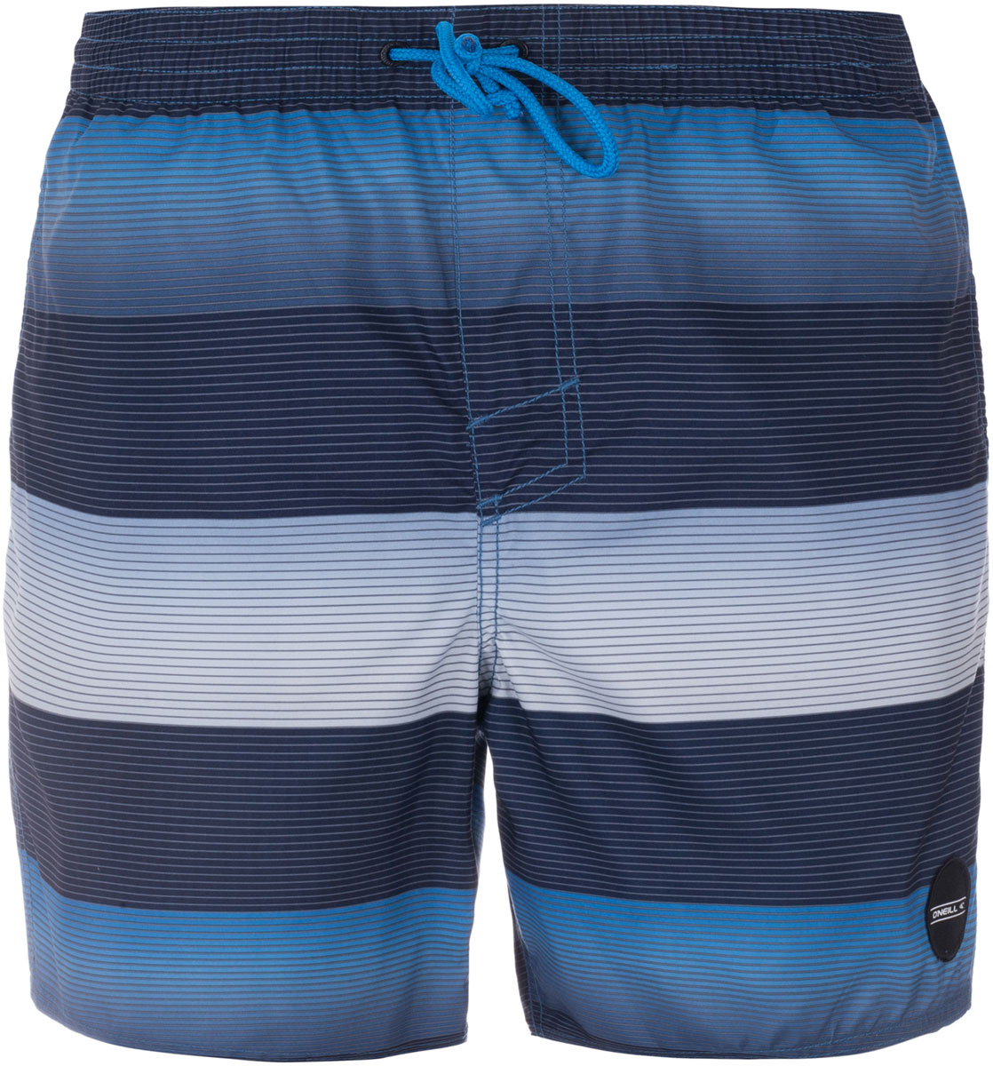 Шорты пляжные мужские ONeill Pm Santa Cruz Stripe Shorts, цвет: синий, белый, голубой. 7A3674-5900. Размер L (50/52)7A3674-5900Мужские пляжные шорты ONeill выполнены из 100% полиэстера. Технология Hyperdry надежно защищает от влаги, пропускает воздух и позволяет ткани быстро сохнуть. Пояс снабжен эластичной резинкой с затягивающимся шнурком для комфортной посадки. Изделие декорировано принтом в виде полосок.