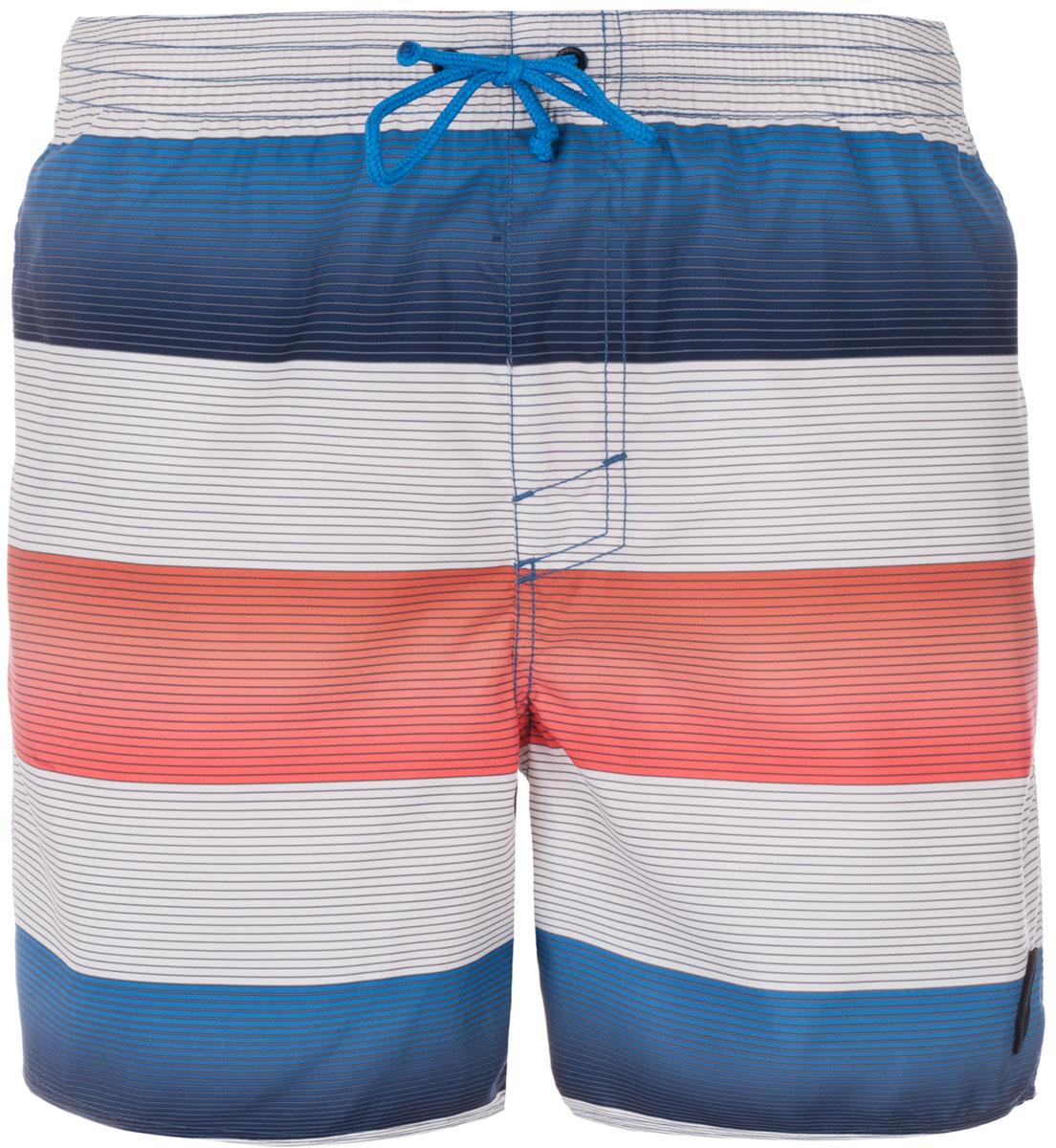 Шорты пляжные мужские ONeill Pm Santa Cruz Stripe Shorts, цвет: белый, оранжевый, синий. 7A3674-1900. Размер S (46/48)7A3674-1900Мужские пляжные шорты ONeill выполнены из 100% полиэстера. Технология Hyperdry надежно защищает от влаги, пропускает воздух и позволяет ткани быстро сохнуть. Пояс снабжен эластичной резинкой с затягивающимся шнурком для комфортной посадки. Изделие декорировано принтом в виде полосок.