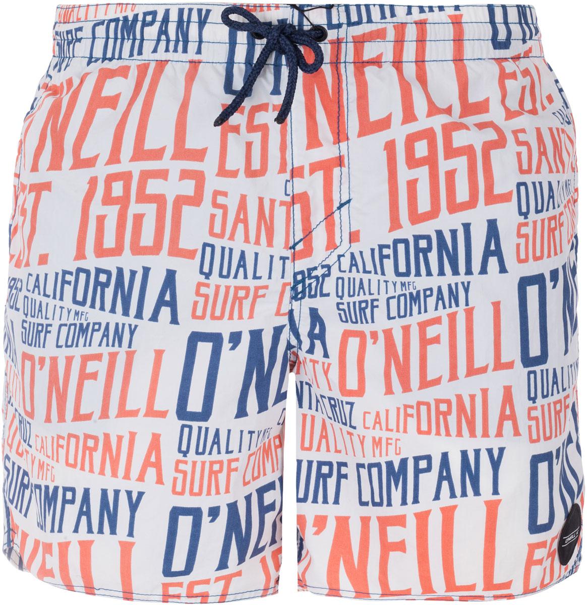 Шорты пляжные мужские ONeill Pm Signage Shorts, цвет: белый, оранжевый, синий. 7A3672-1900. Размер L (50/52)7A3672-1900Мужские пляжные шорты ONeill выполнены из 100% полиэстера. Технология Hyperdry надежно защищает от влаги, пропускает воздух и позволяет ткани быстро сохнуть. Пояс снабжен эластичной резинкой с затягивающимся шнурком для комфортной посадки. Изделие декорировано сплошным принтом в виде надписей.