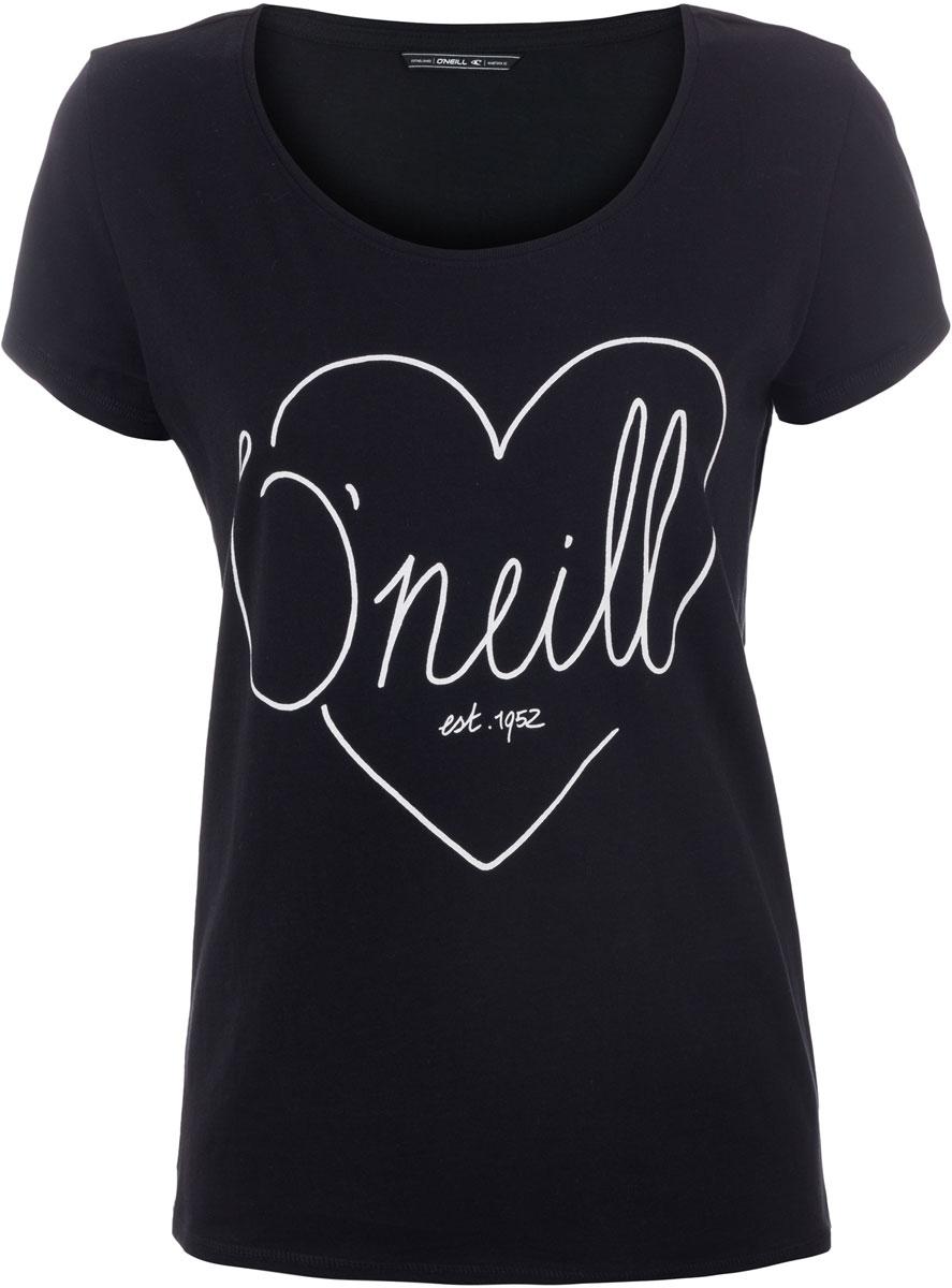 Футболка женская ONeill Lw Heart Graphic T-Shirt, цвет: черный. 7A8618-9010. Размер S (44/46)7A8618-9010Футболка женская ONeill выполнена из 100% хлопка. Модель имеет стандартный крой, короткий рукав и круглый вырез горловины. Футболка дополнена рисунком в виде сердца и надписями.