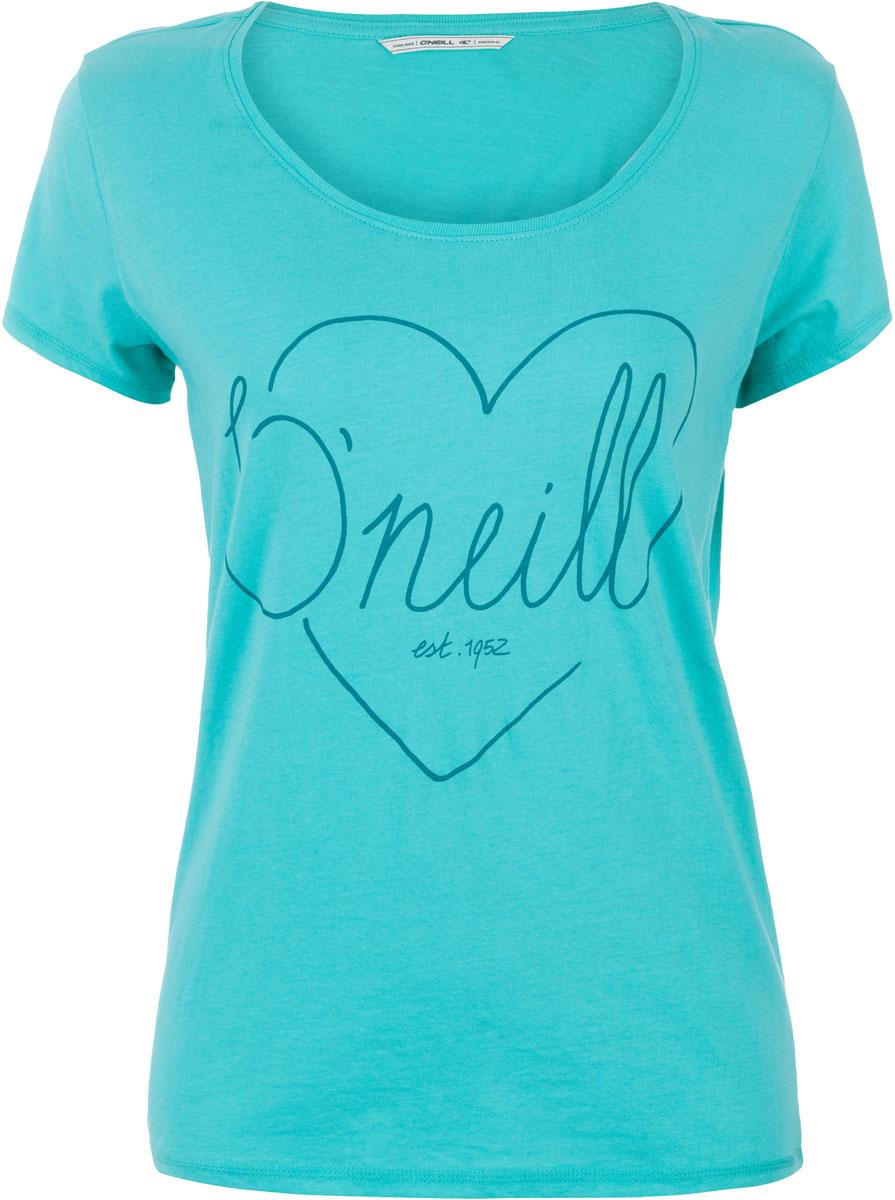 Футболка женская ONeill Lw Heart Graphic T-Shirt, цвет: бирюзовый. 7A8618-6106. Размер S (44/46)7A8618-6106Футболка женская ONeill выполнена из 100% хлопка. Модель имеет стандартный крой, короткий рукав и круглый вырез горловины. Футболка дополнена рисунком в виде сердца и надписями.