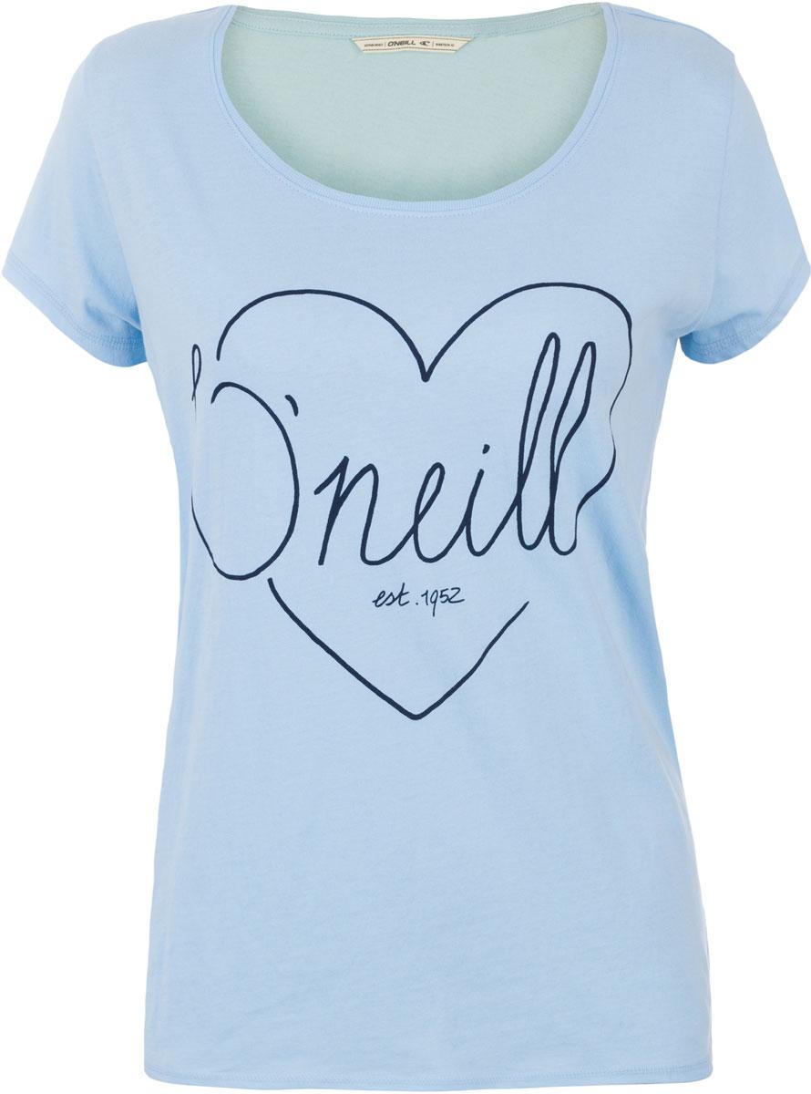 Футболка женская ONeill Lw Heart Graphic T-Shirt, цвет: голубой. 7A8618-5057. Размер XS (42/44)7A8618-5057Футболка женская ONeill выполнена из 100% хлопка. Модель имеет стандартный крой, короткий рукав и круглый вырез горловины. Футболка дополнена рисунком в виде сердца и надписями.