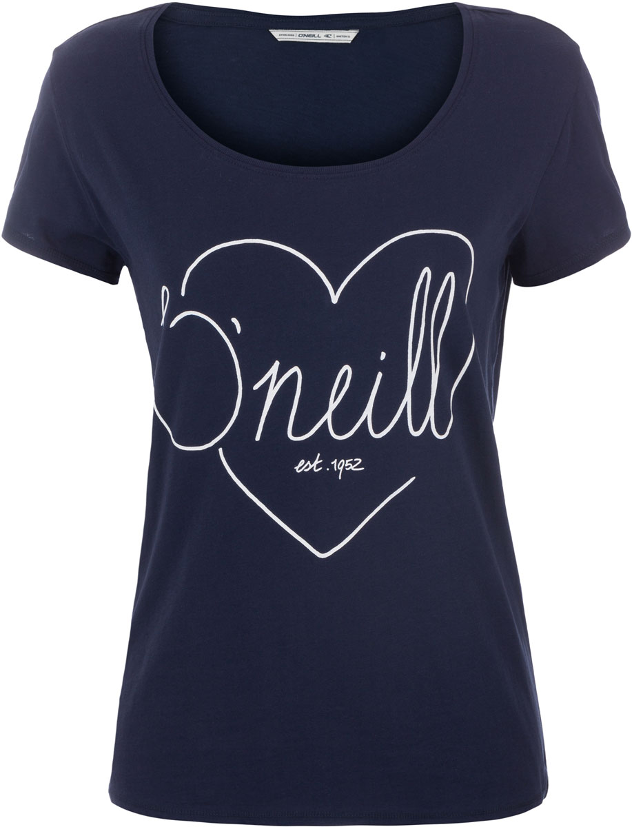 Футболка женская ONeill Lw Heart Graphic T-Shirt, цвет: темно-синий. 7A8618-5056. Размер XS (42/44)7A8618-5056Футболка женская ONeill выполнена из 100% хлопка. Модель имеет стандартный крой, короткий рукав и круглый вырез горловины. Футболка дополнена рисунком в виде сердца и надписями.