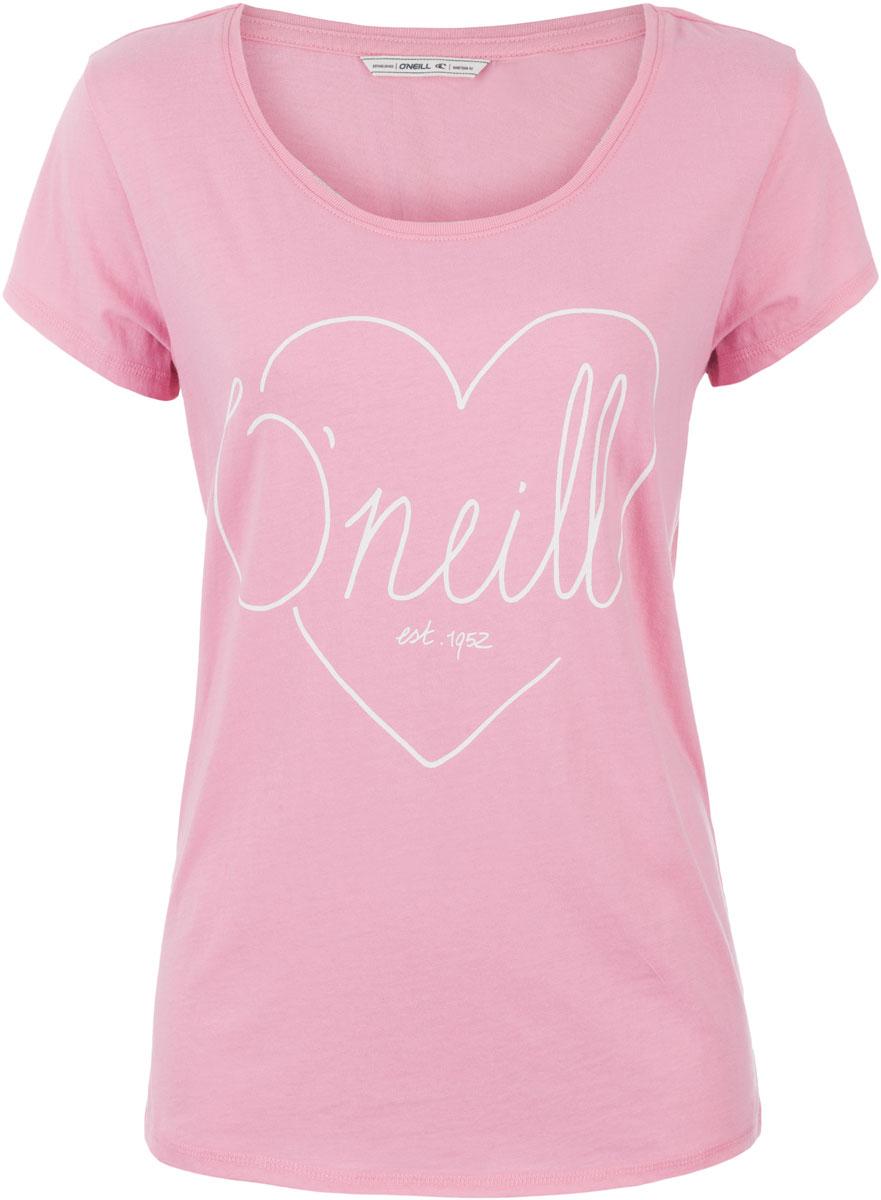 Футболка женская ONeill Lw Heart Graphic T-Shirt, цвет: розовый. 7A8618-4076. Размер M (46/48)7A8618-4076Футболка женская ONeill выполнена из 100% хлопка. Модель имеет стандартный крой, короткий рукав и круглый вырез горловины. Футболка дополнена рисунком в виде сердца и надписями.