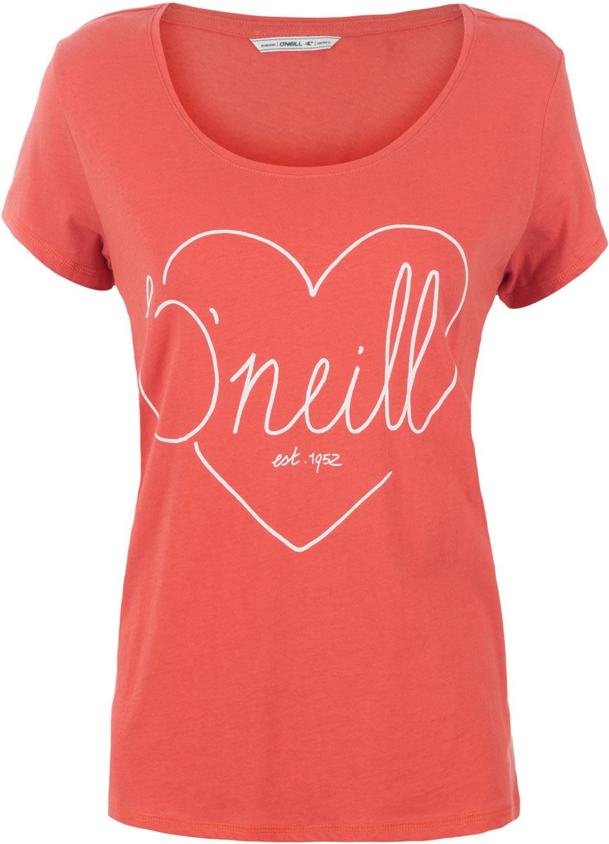 Футболка женская ONeill Lw Heart Graphic T-Shirt, цвет: оранжевый. 7A8618-3082. Размер XS (42/44)7A8618-3082Футболка женская ONeill выполнена из 100% хлопка. Модель имеет стандартный крой, короткий рукав и круглый вырез горловины. Футболка дополнена рисунком в виде сердца и надписями.