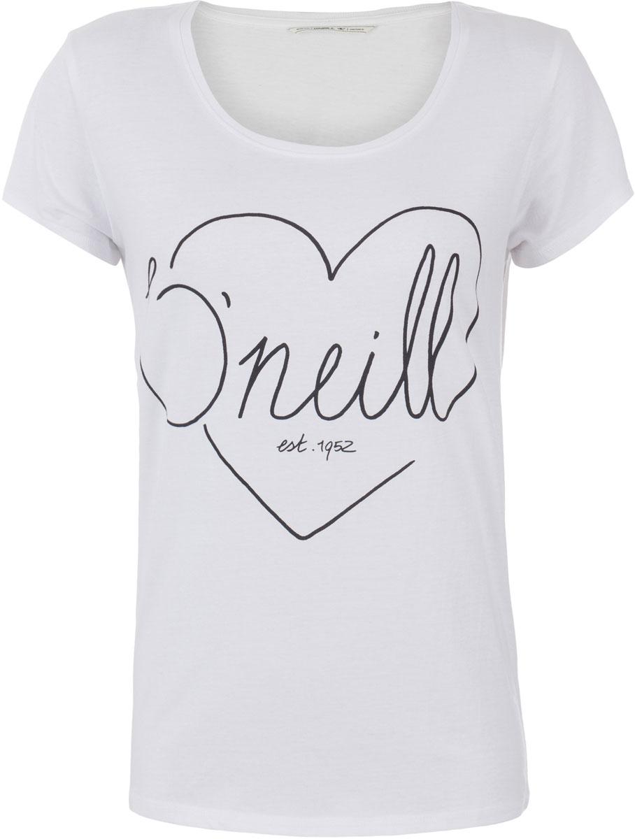 Футболка женская ONeill Lw Heart Graphic T-Shirt, цвет: белый. 7A8618-1010. Размер XS (42/44)7A8618-1010Футболка женская ONeill выполнена из 100% хлопка. Модель имеет стандартный крой, короткий рукав и круглый вырез горловины. Футболка дополнена рисунком в виде сердца и надписями.