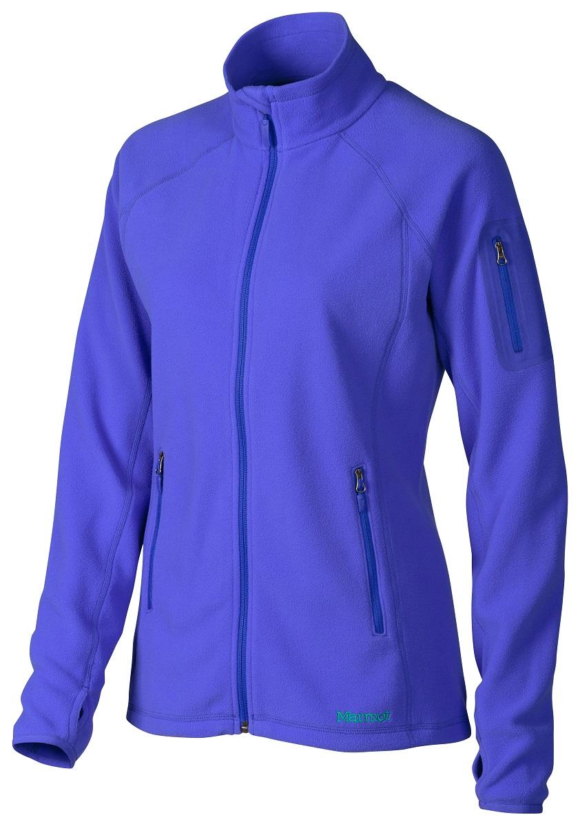 Толстовка женская Marmot Wms Flashpoint Jacket, цвет: сиреневый. 88290-2517. Размер L(50/52)88290-2517Легкая толстовка из тонкого флиса Polartec® Classic 100 – превосходный баланс тепла и веса. Куртка может использоваться в качестве утепляющего слоя под верхнюю одежду в холодное время года или как самостоятельная вещь в прохладную сухую погоду. Эластичные манжеты с прорезью для большого пальца для комфорта при интенсивном движении. Изделие дополнено теплыми карманами на молнии из мягкой ткани, в которых легко согреть руки.
