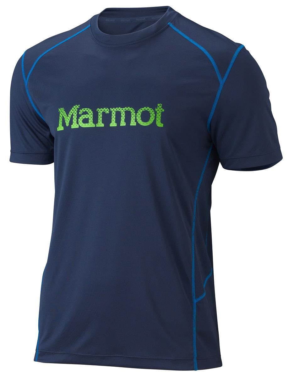 Футболка мужская Marmot Windridge with Graphic SS, цвет: темно-синий. 63170-2951. Размер XL(52/54)