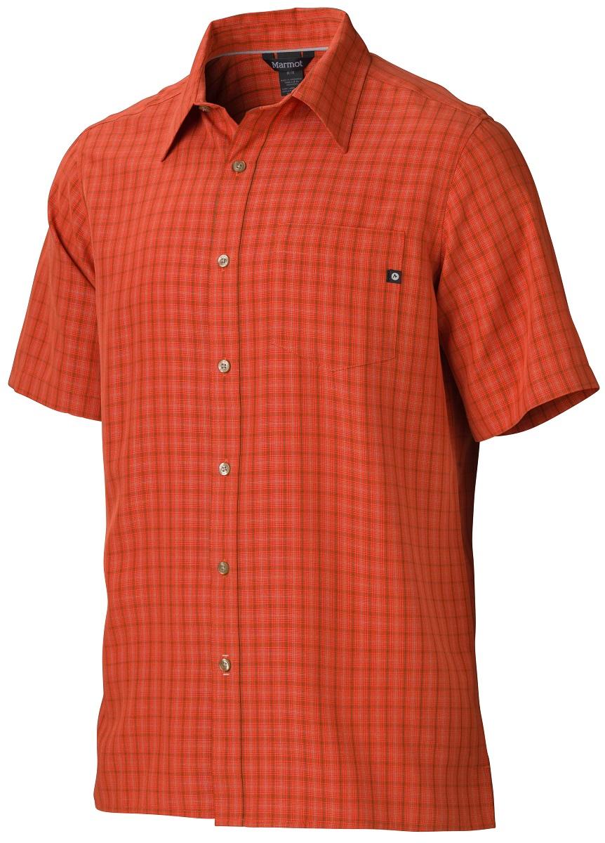 Рубашка мужская Marmot Eldridge SS, цвет: оранжевый. 62220-6198. Размер M(48/50)62220-6198Симпатичная рубашка с коротким рукавом Eldridge SS быстро станет любимой вещью в вашем гардеробе, а также обеспечит надежную защиту от вредного воздействия ультрафиолетового излучения. Смесовая ткань необычайно приятна на ощупь, а рисунок хорошо сочетается с любыми вещами.