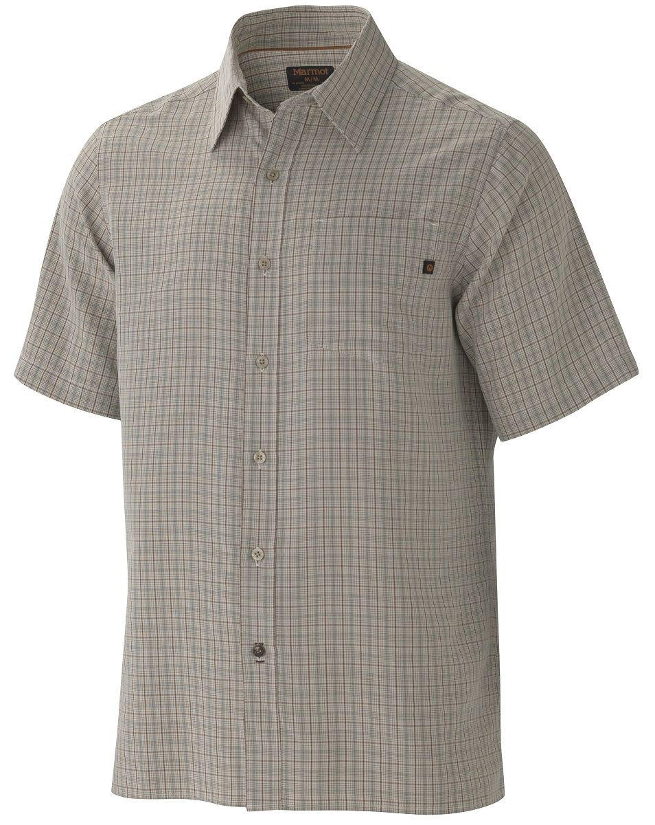 Рубашка мужская Marmot Eldridge SS, цвет: светло-серый. 62220-3088. Размер XXL(54/56)62220-3088Симпатичная рубашка с коротким рукавом Eldridge SS быстро станет любимой вещью в вашем гардеробе, а также обеспечит надежную защиту от вредного воздействия ультрафиолетового излучения. Смесовая ткань необычайно приятна на ощупь, а рисунок хорошо сочетается с любыми вещами.