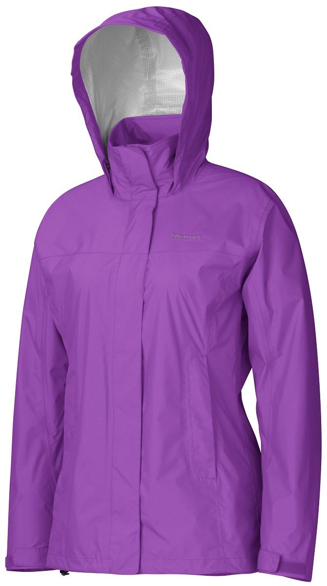 Дождевик женский Marmot Wms PreCip Jacket, цвет: фиолетовый. 46200-6444. Размер L(50/52)46200-6444Дождевик Wm`s PreCip Jacket создан специально для женщин. Бесспорный хит продаж. Этот легкий дождевик не подведет вас и защитит от дождя и влаги летом и в межсезонье. Технология PreCip™ Dry Touch - водостойкий, дышащий материал, 100% водонепроницаемые швы, капюшон имеет возможность хорошего обзора и при необходимости убирается в воротник - двусторонние молнии в районе подмышек обеспечивают отличную вентиляцию. Низ куртки регулируется эластичным шнуром – для универсальности в любую непогоду.