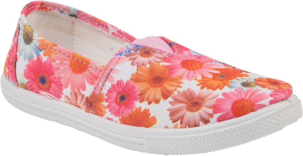 Туфли для девочки Котофей, цвет: розовый, белый, оранжевый. 631060-12. Размер 34631060-12Прелестные туфли для девочки от Котофей выполнены из текстиля и оформлены цветочным принтом. Подкладка и стелька из текстиля комфортны при движении. Эластичная вставка на подъеме для идеальной посадки модели на ноге. Подошва дополнена рифлением.
