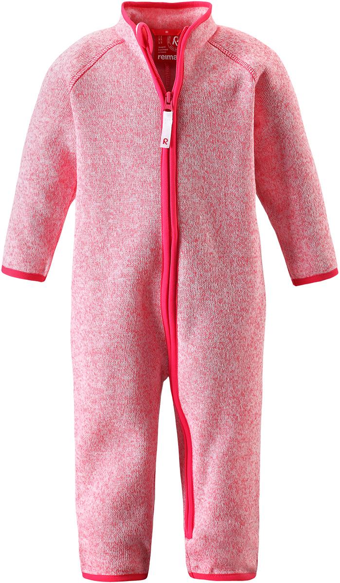 Комбинезон флисовый детский Reima Tahti, цвет: розовый. 5162893360. Размер 745162893360Флисовый комбинезон для малышей сверху имеет вязаную структуру, а с изнаночной стороны пушистую флисовую поверхность. Модель сшита из теплого и дышащего материала, зимой она будет самой удобной одеждой промежуточного слоя, а в теплое время года послужит отличной верхней одеждой. Молния во всю длину поможет вам легко одеть вашего ребенка в этот теплый и удобный флисовый комбинезон.