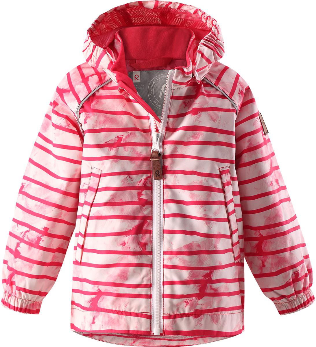 Куртка детская Reima Hihitys, цвет: розовый. 5112363366. Размер 925112363366Водоотталкивающая и простая в уходе демисезонная куртка для малышей. Все основные швы проклеены, так что внутрь не просочится ни одна дождинка. Ветронепроницаемый материал имеет грязеотталкивающую поверхность. Гладкая и удобная подкладка из полиэстера облегчает надевание и не намокает от пота. Съемный капюшон защищает от пронизывающего ветра и безопасен во время игр на свежем воздухе. В куртке предусмотрены два кармана и светоотражающие детали.