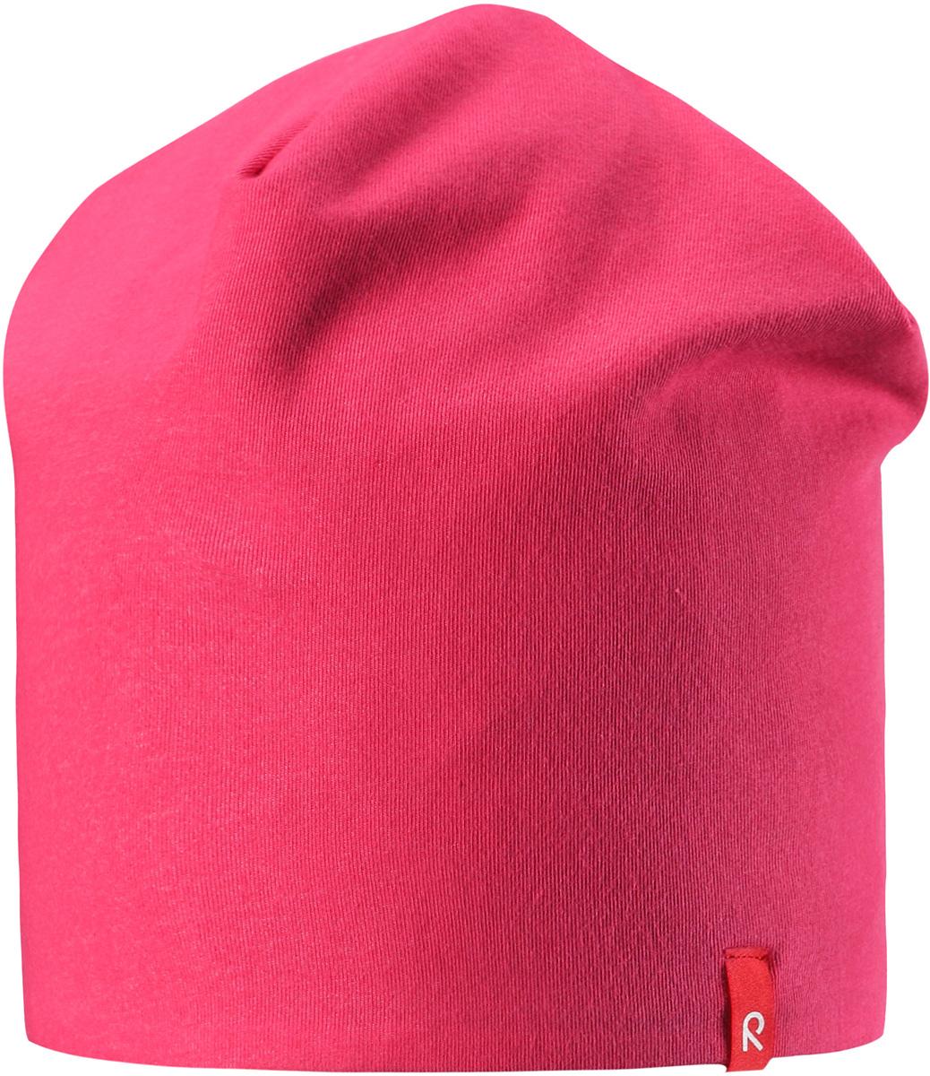 Шапка детская Reima Lautta, цвет: розовый. 5285133360. Размер 505285133360Легкая двухсторонняя шапочка для малышей яркой расцветки с УФ-защитой 40+. Шапка изготовлена из дышащего и быстросохнущего материла Play Jersey, эффективно выводящего влагу с кожи.