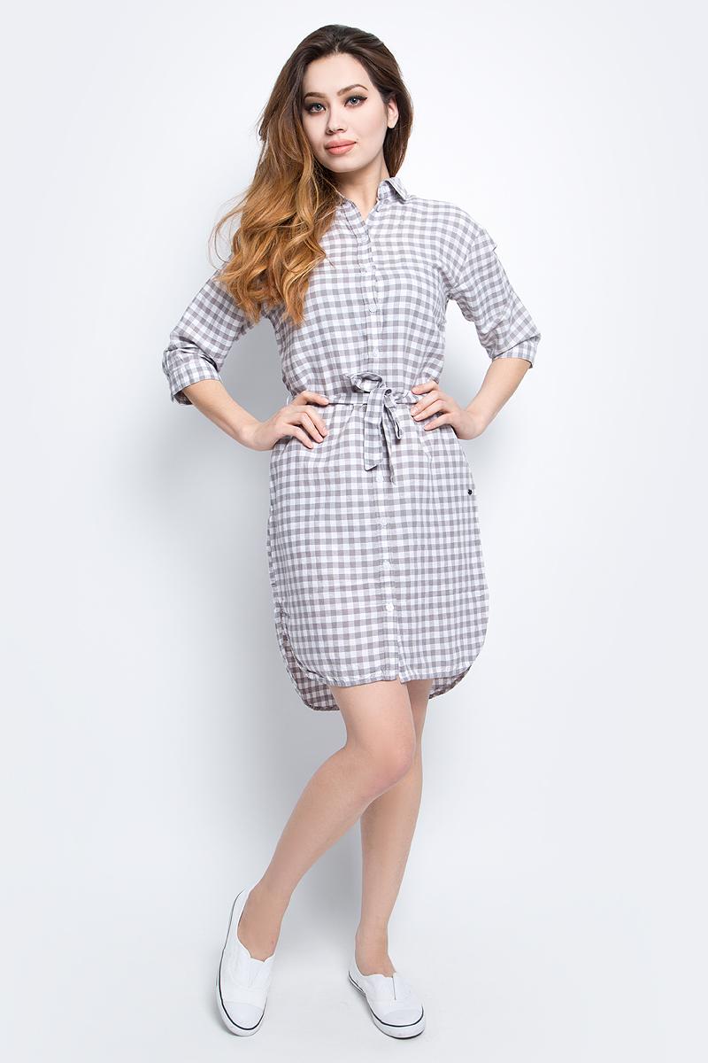 Платье Finn Flare, цвет: светло-серый. S17-32011_211. Размер M (46)S17-32011_211Платье Finn Flare выполнено из льна и хлопка. Модель с отложным воротником и рукавами 3/4.