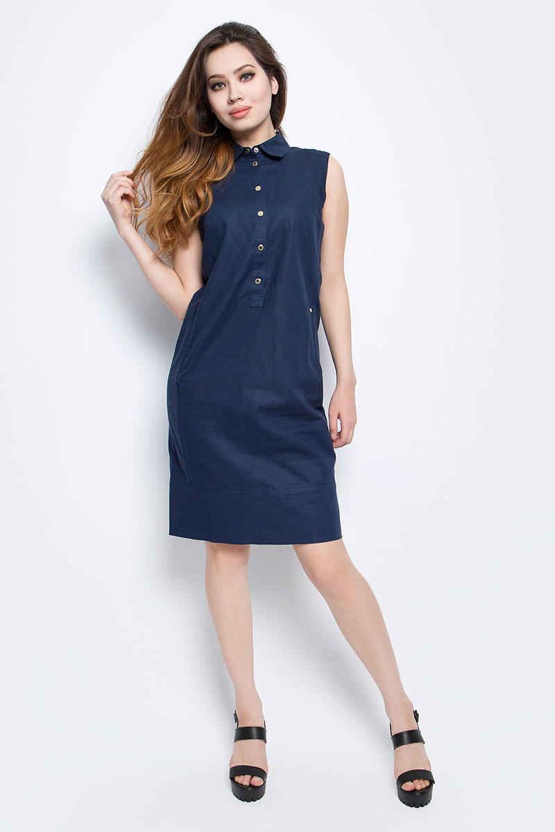 Платье Finn Flare, цвет: темно-синий. CS17-17015_101. Размер L (48)CS17-17015_101Платье Finn Flare выполнено из льна и хлопка. Модель с отложным воротником застегивается на кнопки.