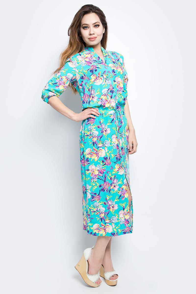 Платье Finn Flare, цвет: светло-бирюзовый. S17-11068_121. Размер S (44)S17-11068_121Платье Finn Flare выполнено из вискозы. Модель с длинными рукавами оформлена цветочным принтом.